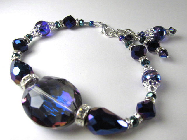 Blue Violet Large Crystal Adjustable Charm Bracelet on Silver - Odyssey Creations