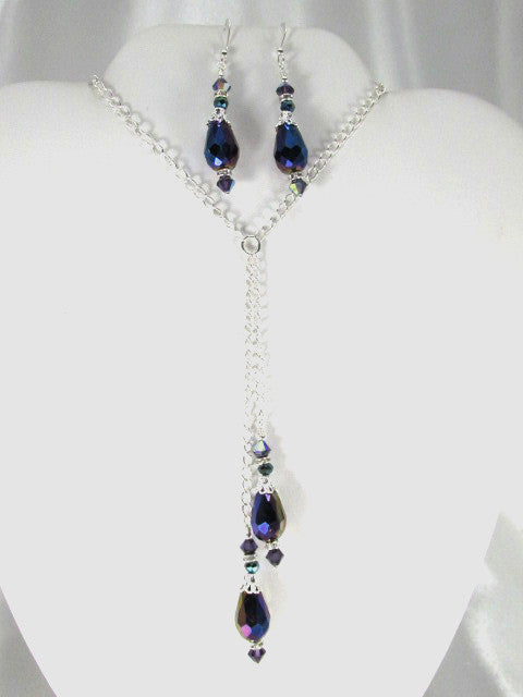 Blue Violet Crystal Necklace and Earring Set on Silver - Odyssey Creations