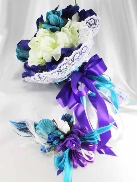 Turquoise, Purple and White Cymbidium Orchids Bridal Bouquet and Boutonniere Set - Odyssey Creations