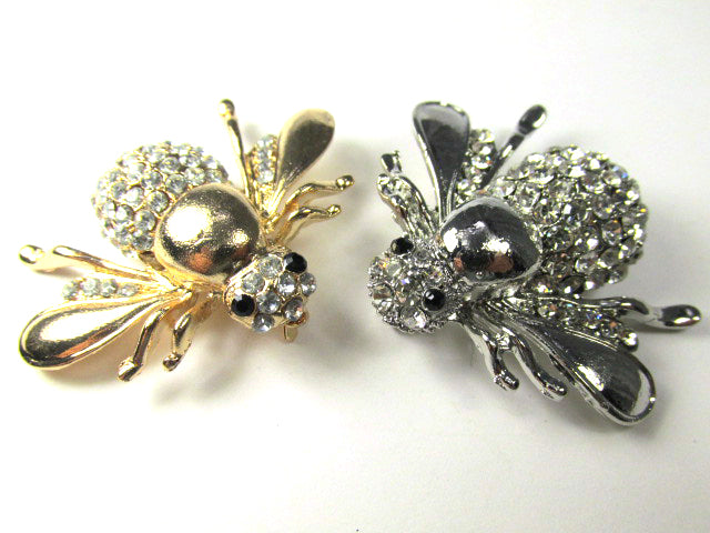 Clear Crystal 2 inch Bumble Bee Brooch set in Antique Silver - Odyssey Creations