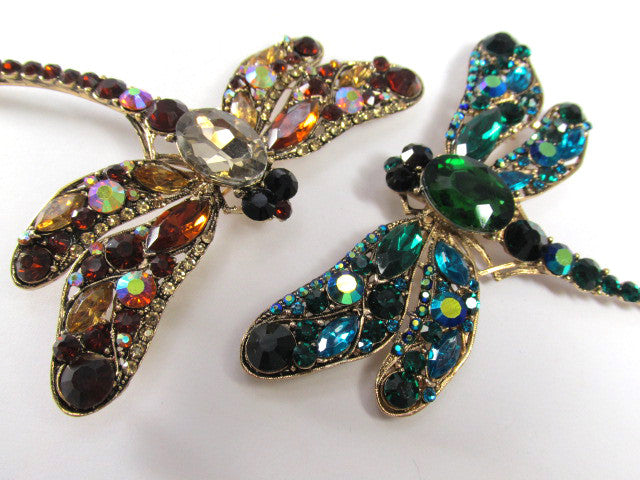 Rust Brown Topaz and Gold Extra Large Dragonfly Brooch - Odyssey Creations