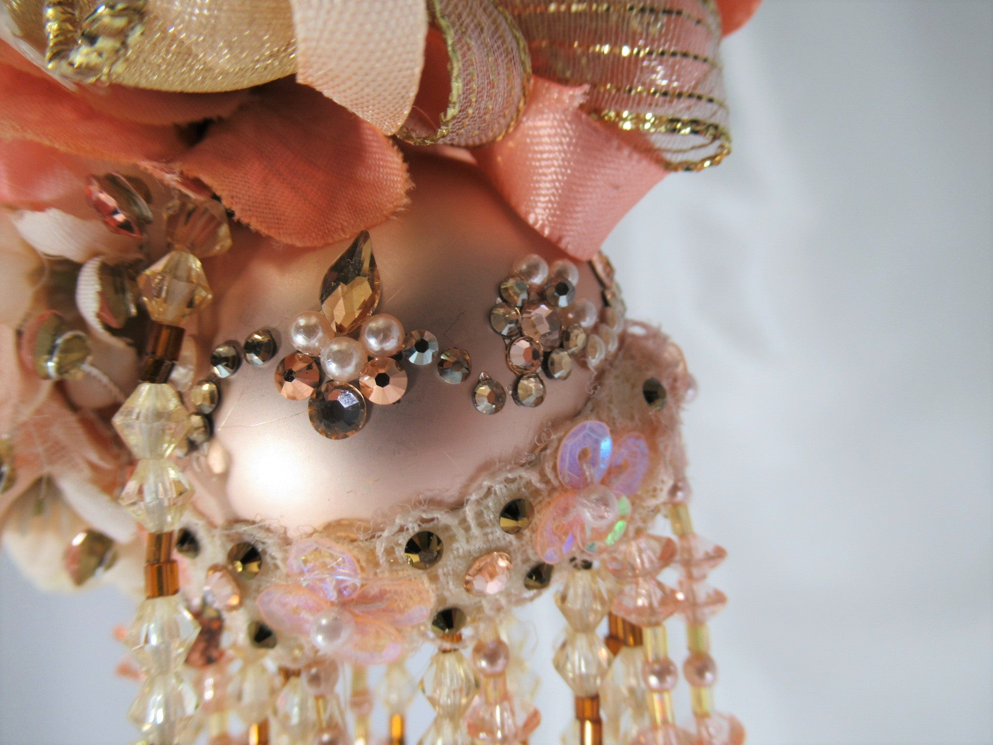Peaches and Cream Small Beaded Victorian Ornament with 105 Swarvoski Crystals and Pearls - Odyssey Creations
