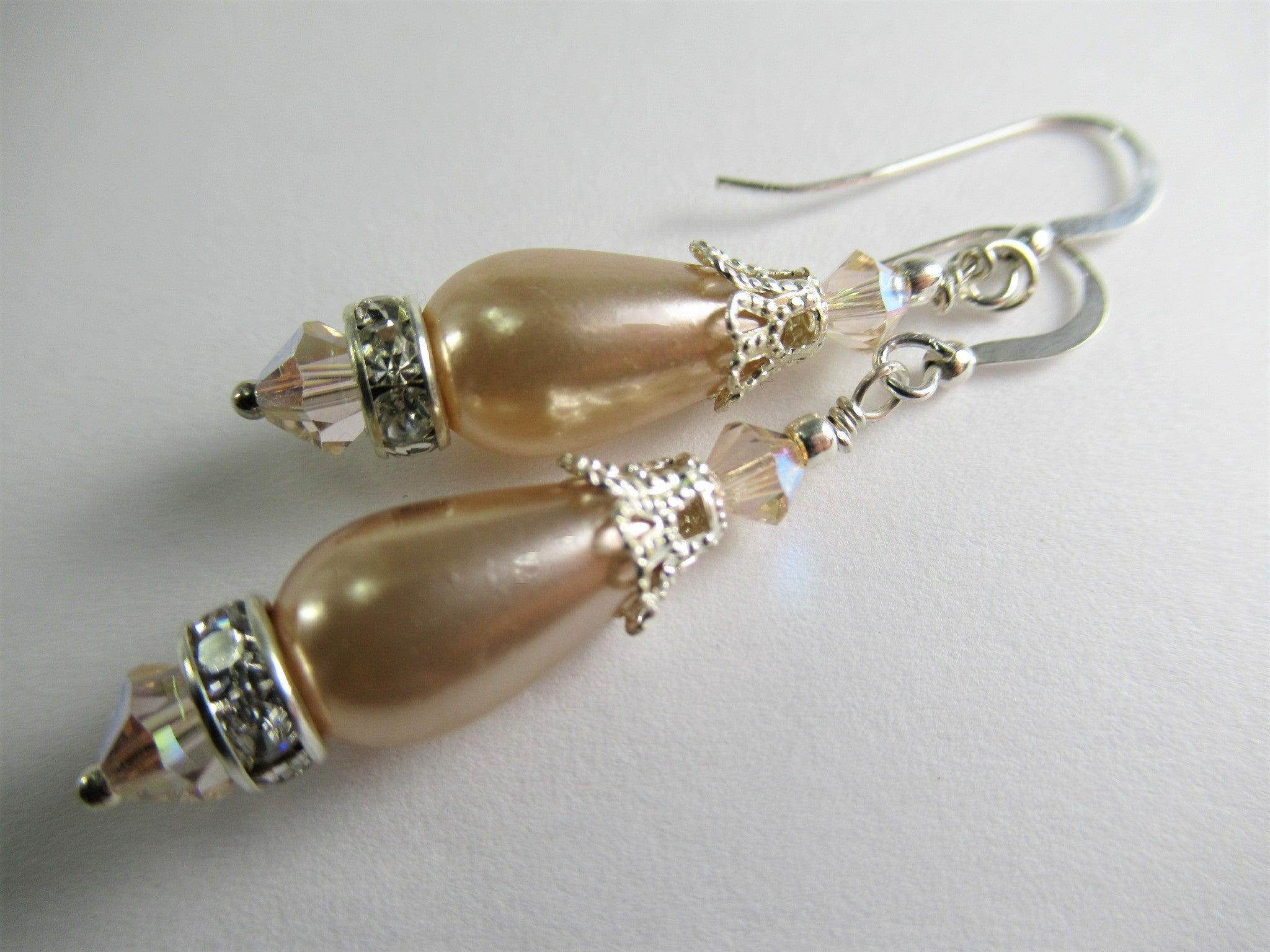 Blush Peach Pearl Teardrop and Swarovski Crystal Bridal Earrings on Sterling Wires - Odyssey Creations