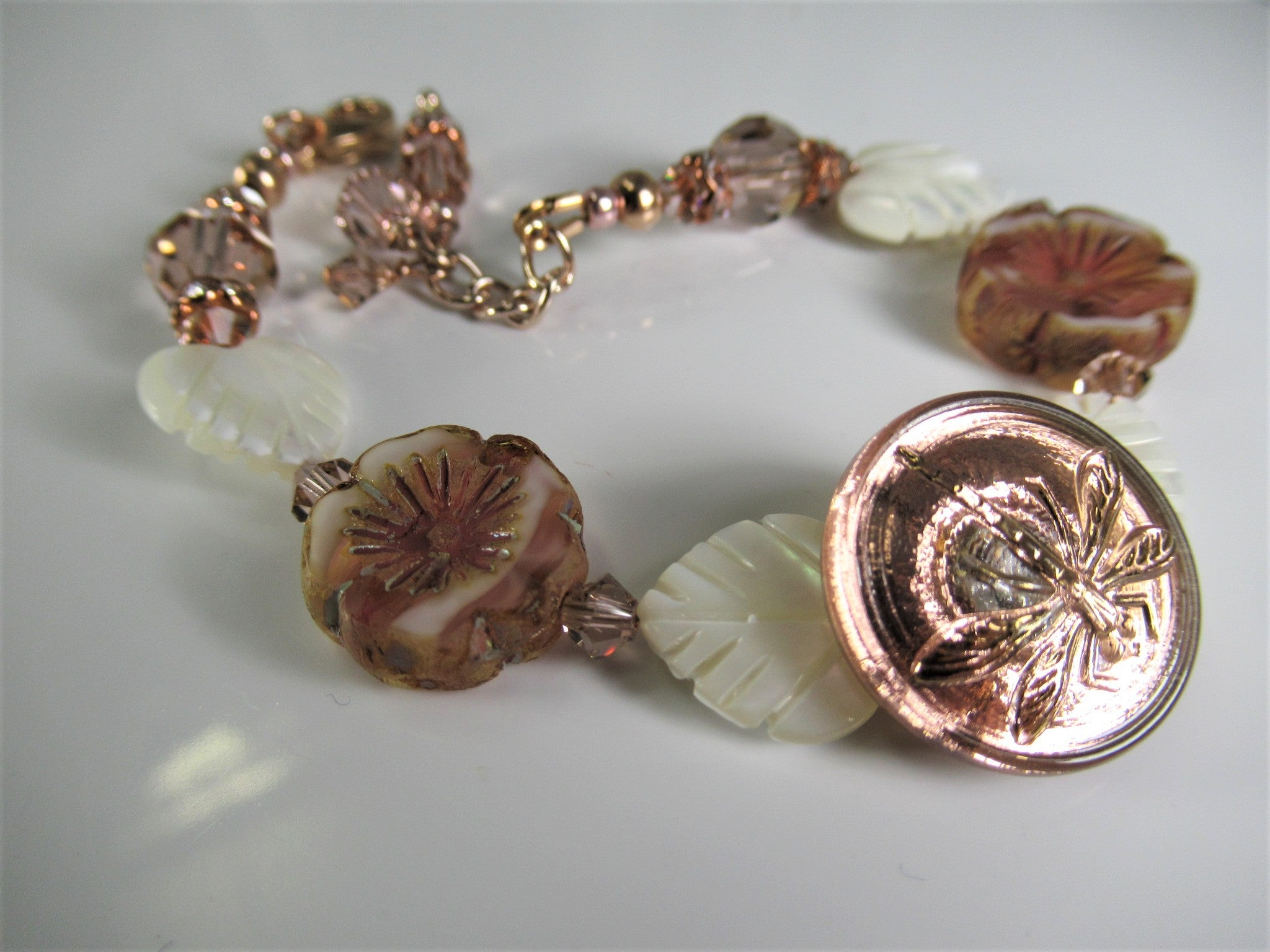 Rose Gold Dragonfly, White Mother of Pearl Hearts, and Vintage Pink Swarovski Crystal Bracelet - Odyssey Creations