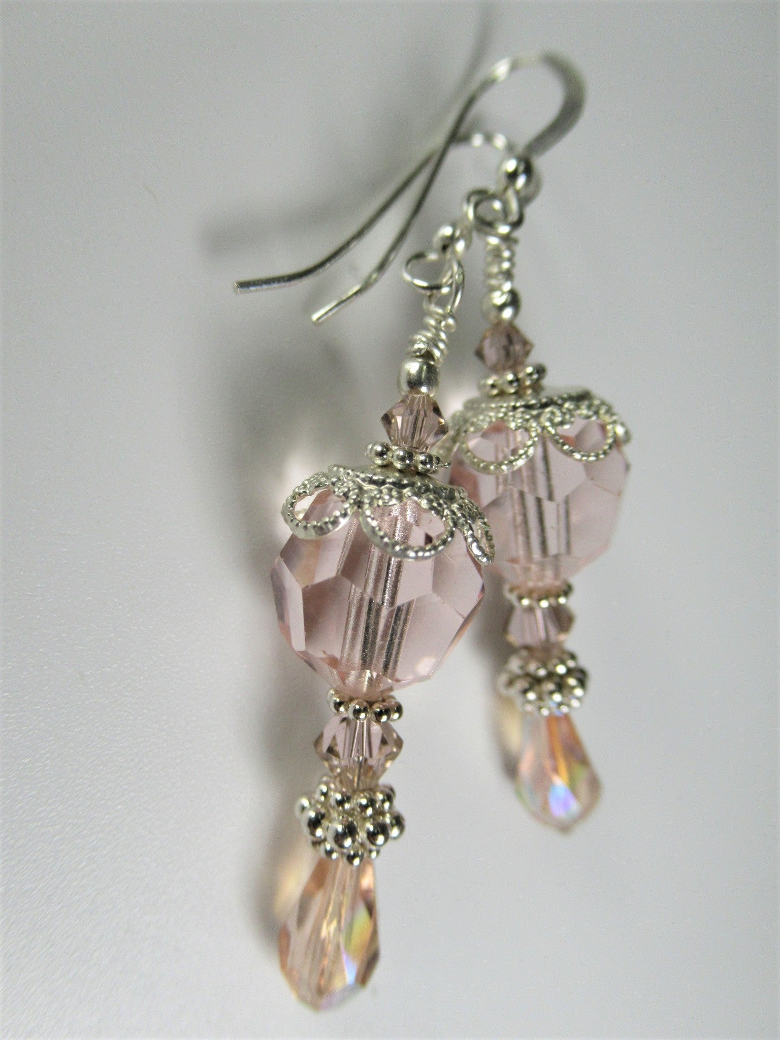 Blush Pink Austrian Crystal All Sterling Silver Bridal Earrings - Odyssey Creations