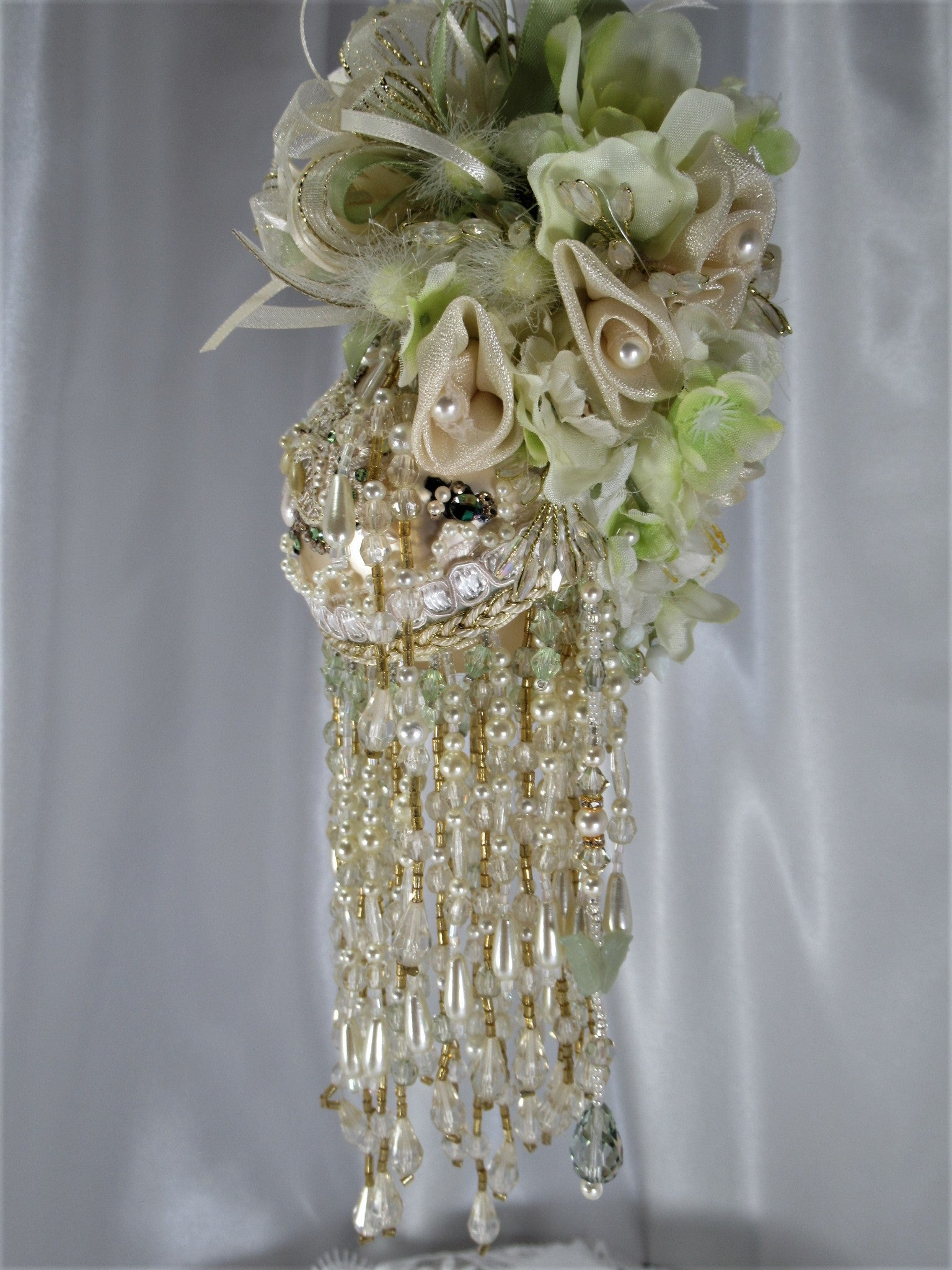 Ivory and Mint Green Medium 11 Inch Tall Beaded Victorian Ornament with 169 Swarvski Crystals and Pearls - Odyssey Creations