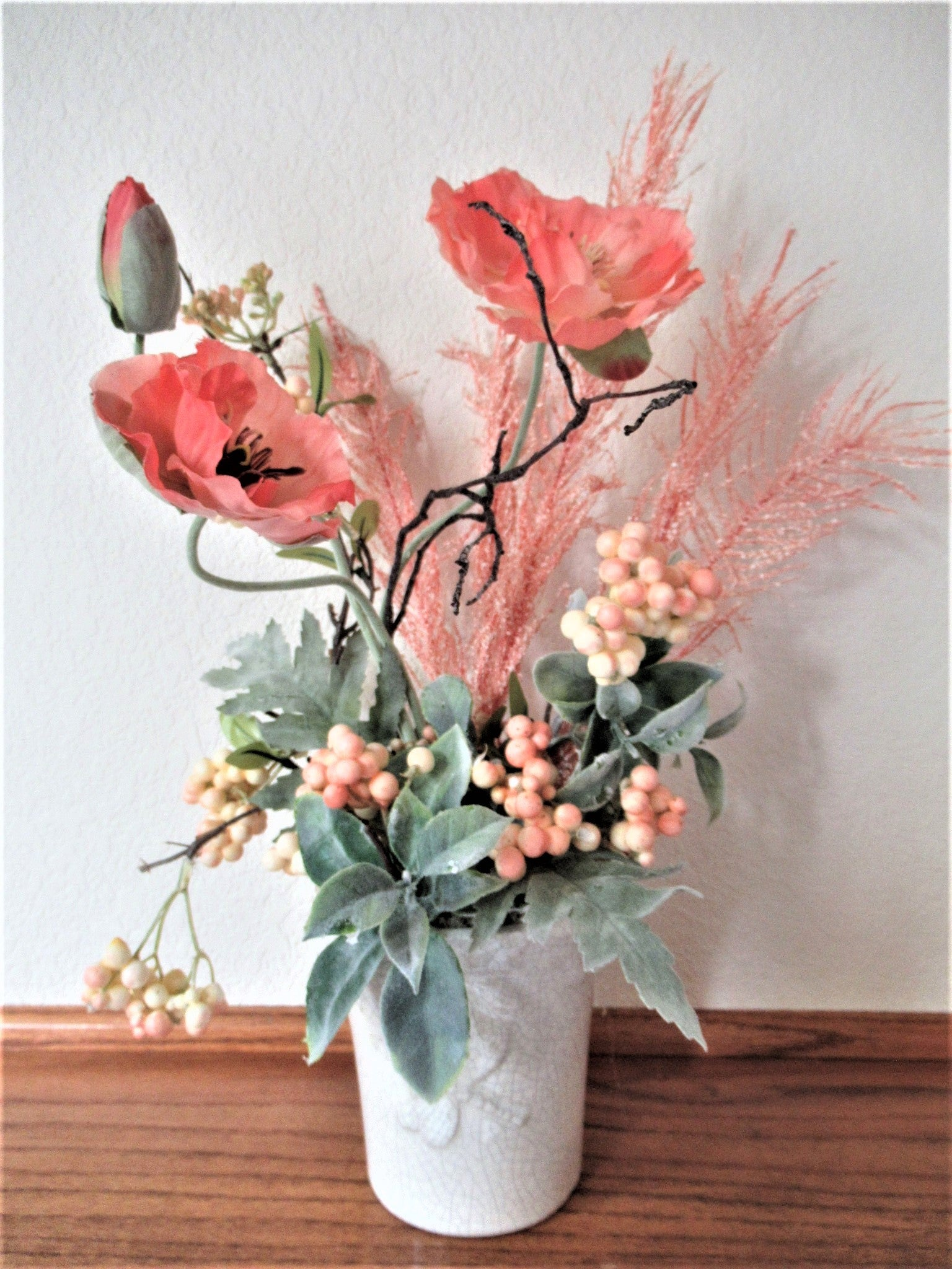 Coral Poppies, Berries and Fluffy Fronts with Light Sage Gray Green Lambs Ear Spring Summer Floral Arrangement - Odyssey Creations