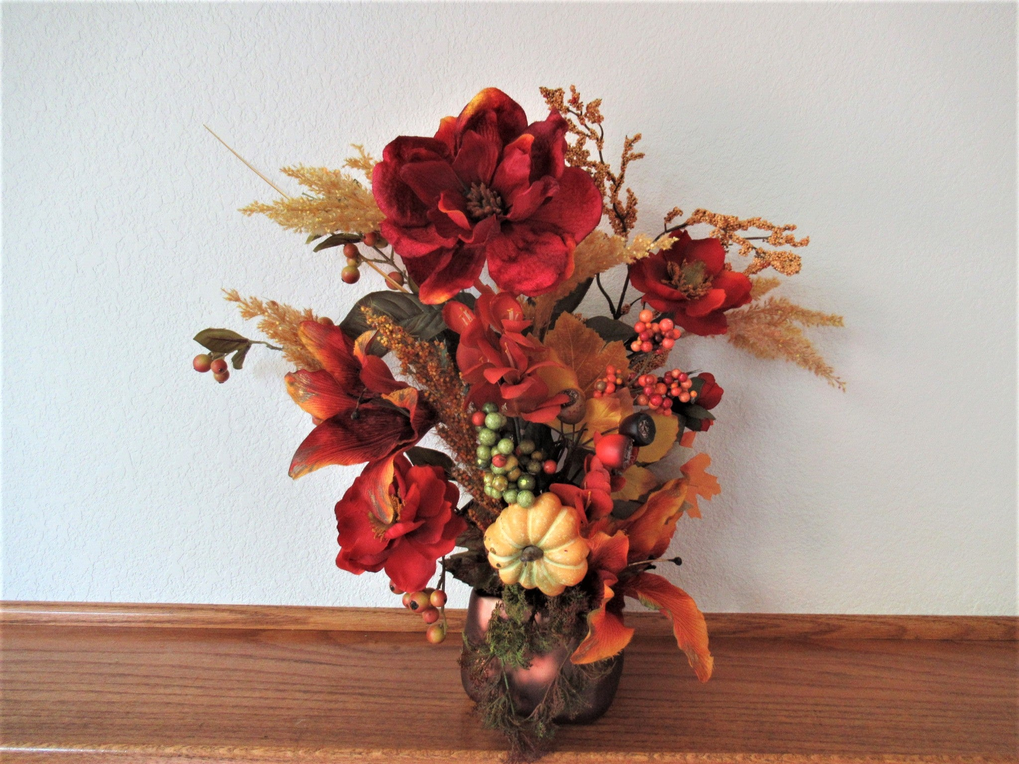 Autumn Fall Bright Golds and Rust Mantle or Table Arrangement - Odyssey Creations