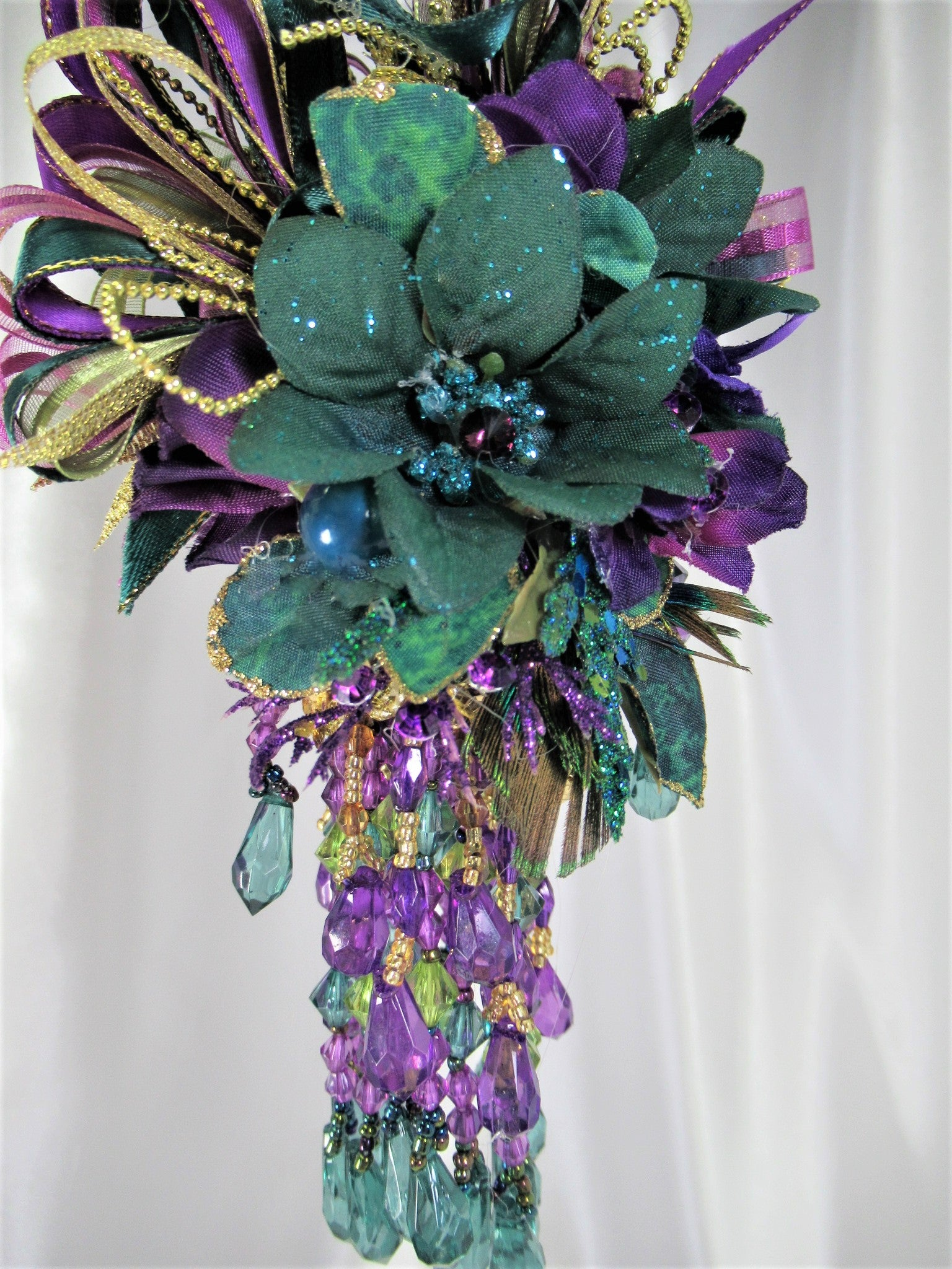 Custom for Nancy - Peacock Green Teal, Purple and Gold Small 7 Inch Beaded Victorian Ornament - Odyssey Creations