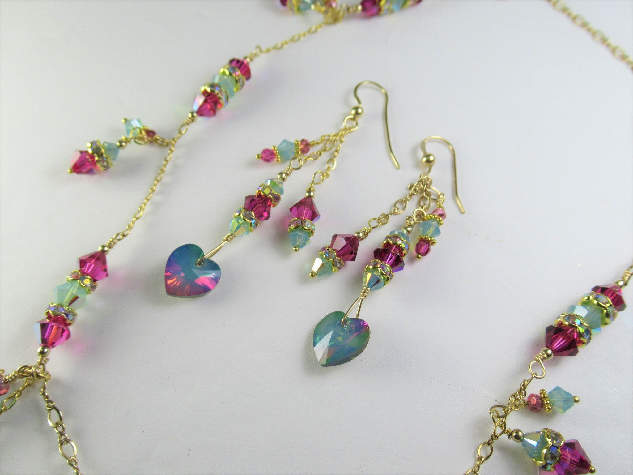 Custom for Leah - Customized Swarovski Heart Necklace and Earring Set in White Opal Electra on 14k Gold Fill - Odyssey Creations