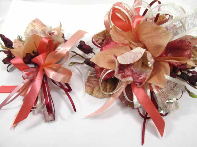 Coral Orchid and Burgundy with Ivory Pearl Wrist Corsage Homecoming or Prom Set - Odyssey Creations