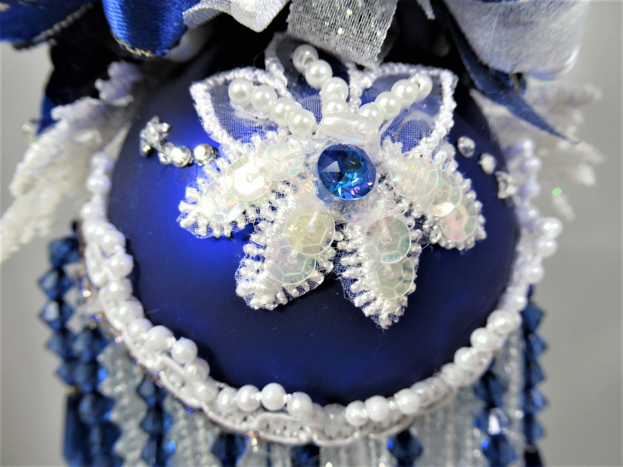 Blue and White Reindeer Beaded Christmas Victorian Ornament with Swarvoski Crystal Stars - Odyssey Creations