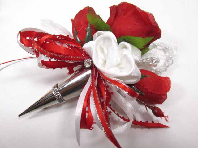 Red, White and Silver Orchid Wrist Corsage and Boutonniere Prom Set with Pearls and Rhinestones - Odyssey Creations
