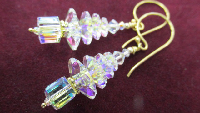 Swarovski Crystal AB Christmas Tree Earrings on with all 22k Gold Vermeil Earring Wires - Odyssey Creations