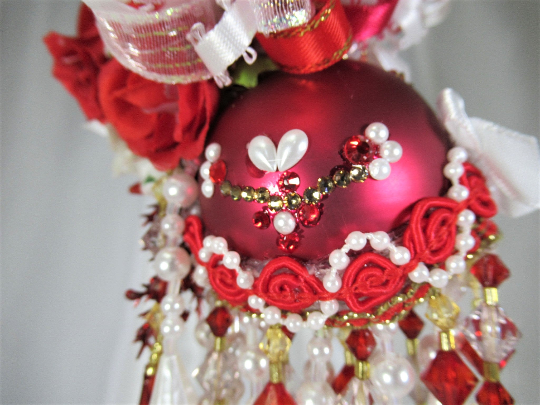 Red and White Heart Beaded Christmas Victorian Ornament - Odyssey Creations