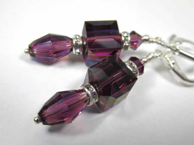 Dainty Amethyst AB Swarovski 8mm Faceted Cube and Vintage Barrel Crystal Earrings - Odyssey Creations