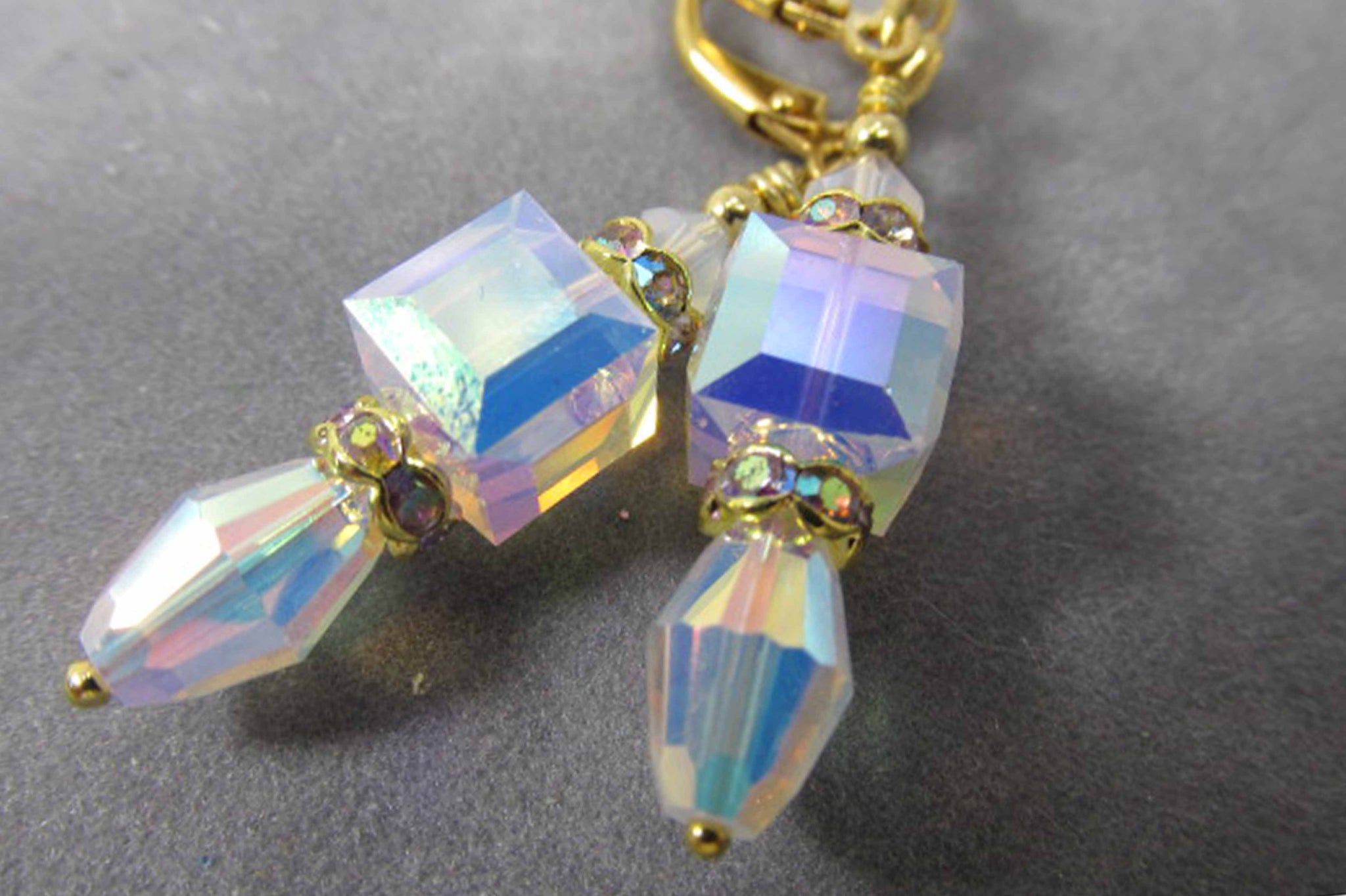 White Opal Swarovski 8mm Faceted Cube and Vintage Barrel Crystal Earrings - Odyssey Creations