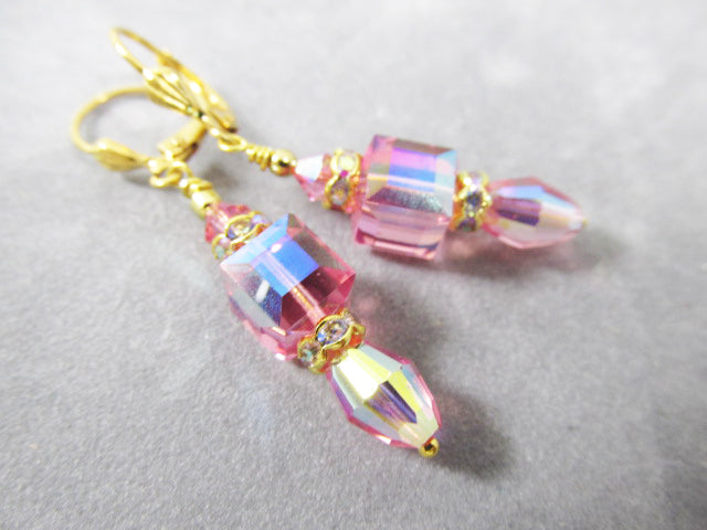 Swarovski Crystal Pink Rose AB Cube and Barrel Earrings on Gold - Odyssey Creations