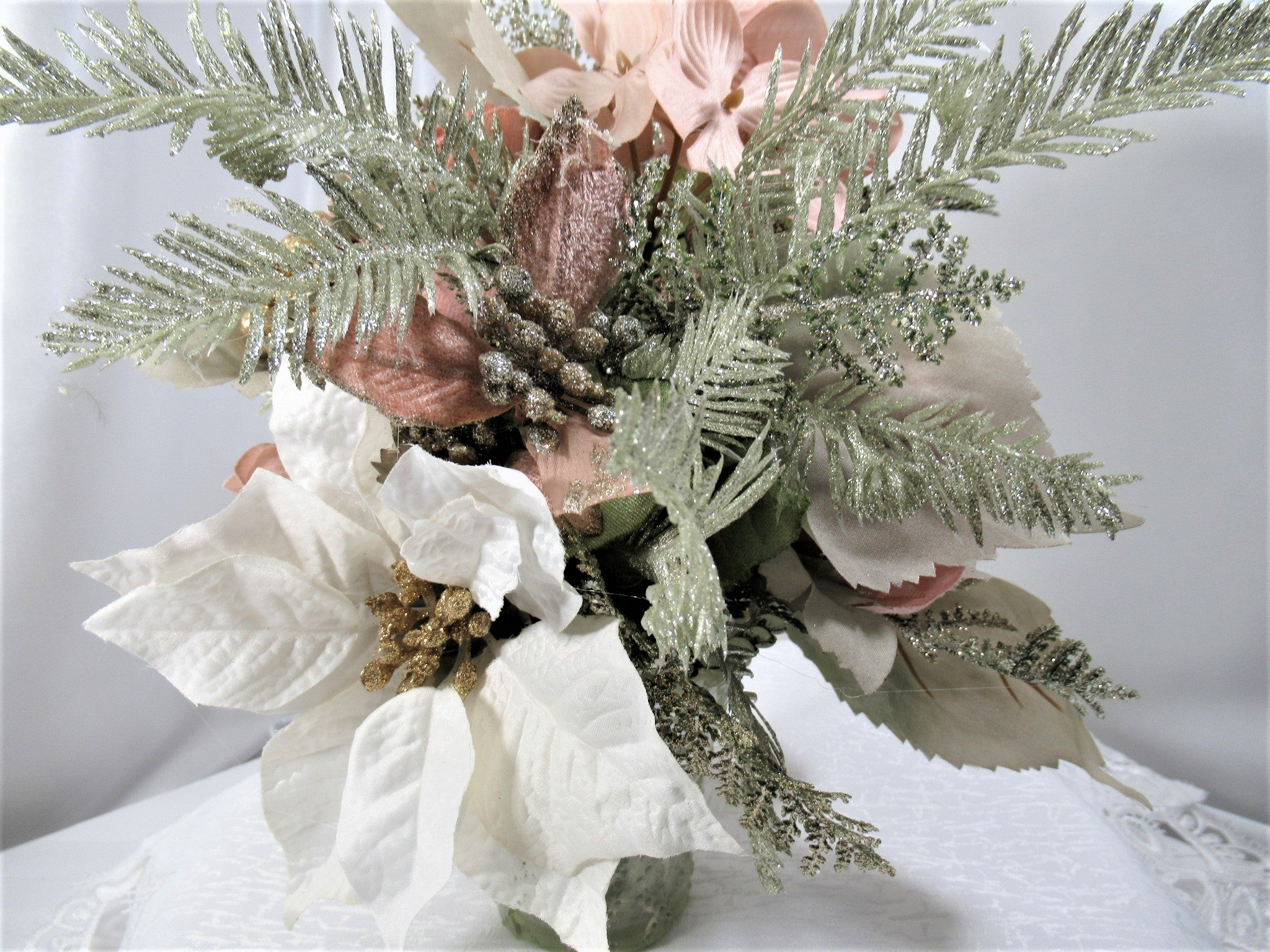Blush, Mint Green and White Small Christmas Victorian Silk Floral Centerpiece Arrangement - Odyssey Creations