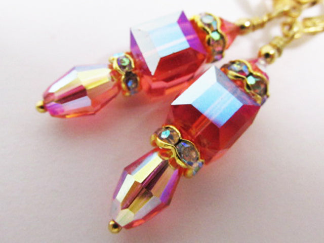 Swarovski Crystal Coral Padparasha AB Cube and Barrel Earrings on Gold - Odyssey Creations