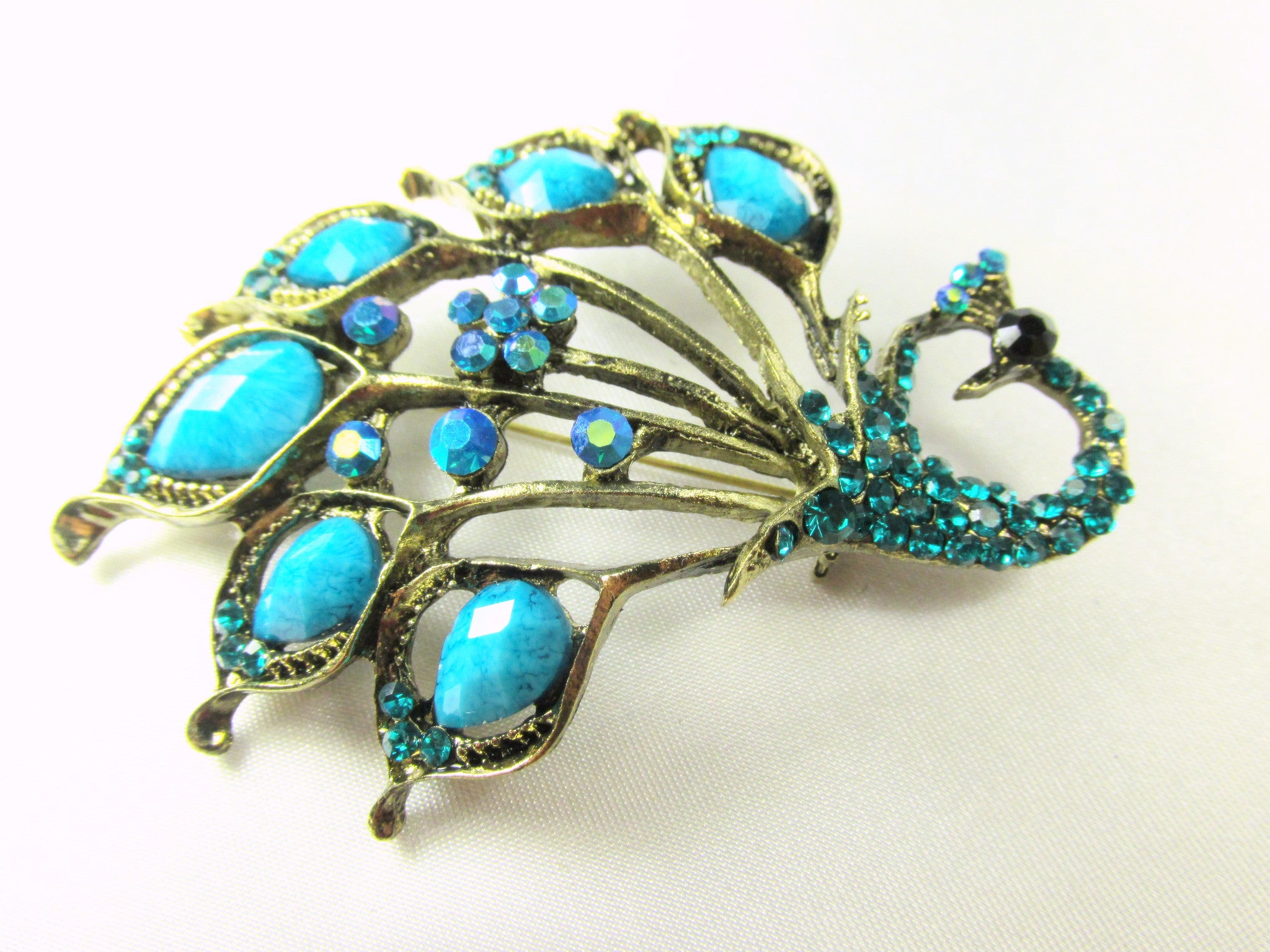 Turquoise Peacock Brooch in Antique Gold - Odyssey Creations