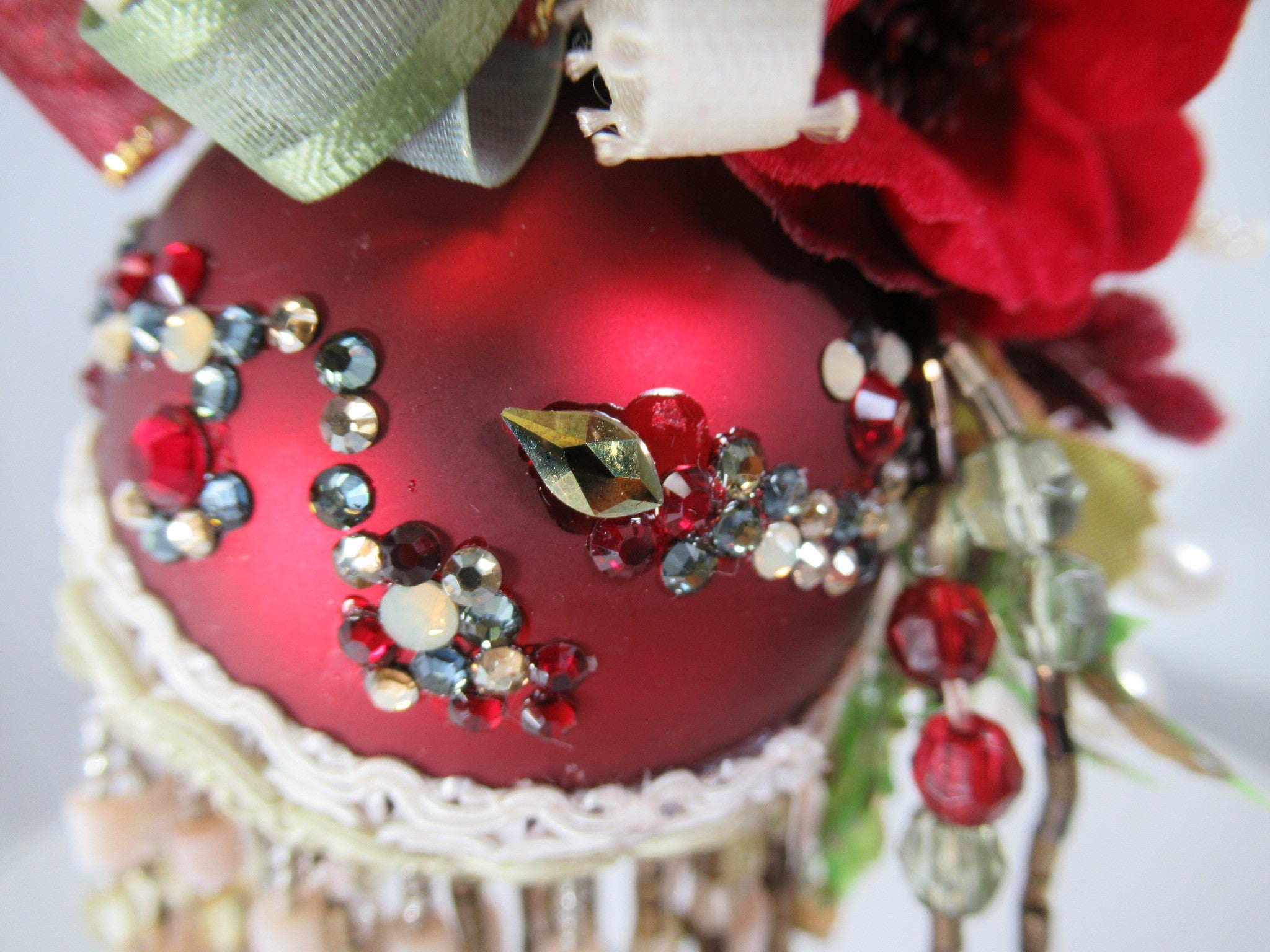 Dark Red, Sage Green and Beige Ivory Beaded Victorian Ornament with 95 Swarvoski Crystals - Odyssey Creations