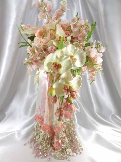 Blush Pink and Ivory Orchid, Calla Lily, and Peony Large Cascading Beaded Bridal Bouquet. - Odyssey Creations