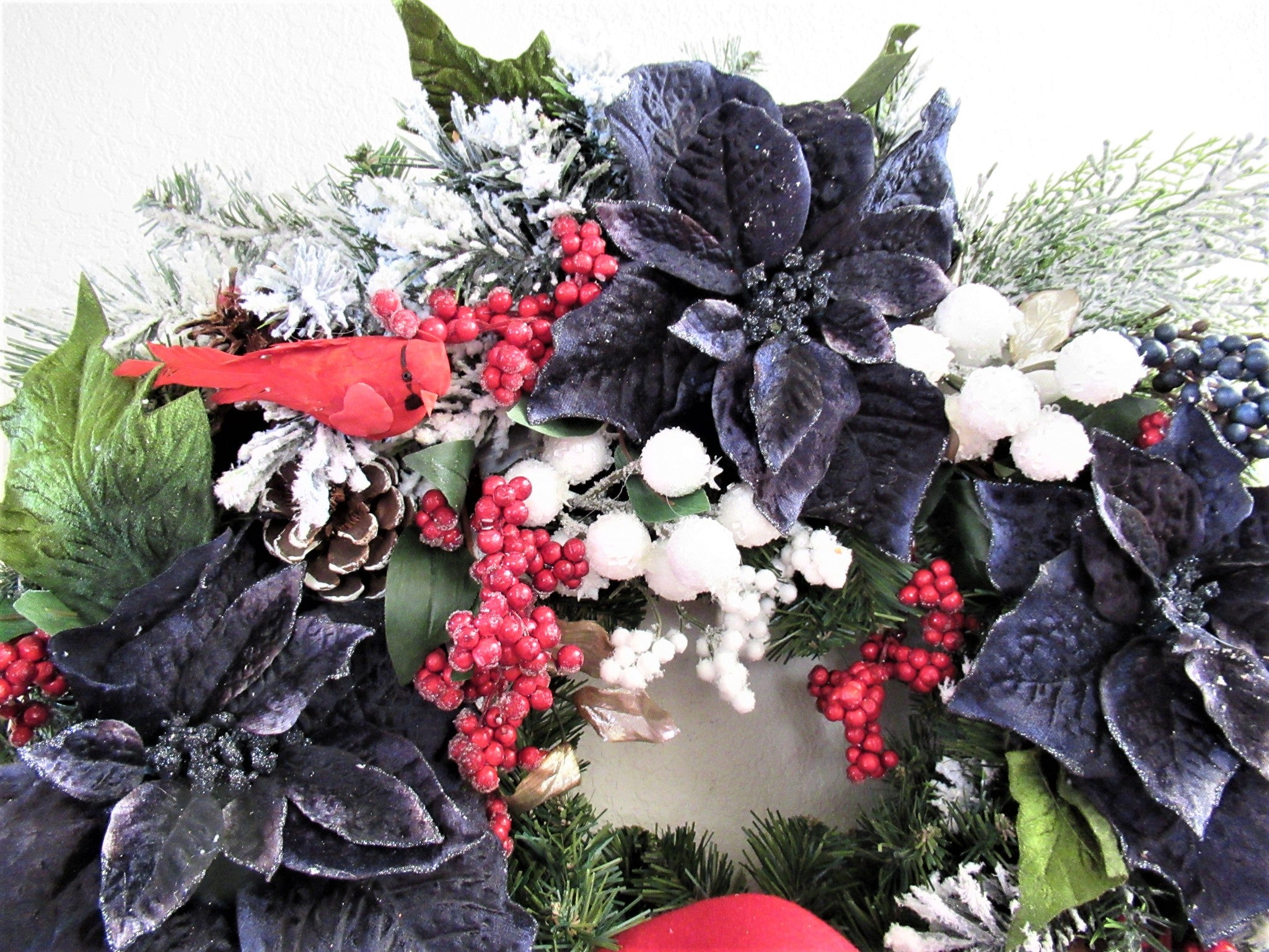 Large Red, White and Navy Blue Cardinal Holiday Christmas Wreath with Victorian Styled Beaded Bow - Odyssey Creations