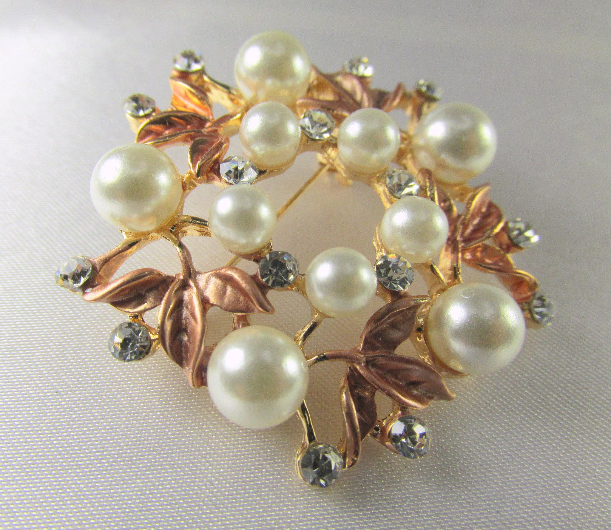 Rose Gold, White Pearl and Clear Crystal Flower Brooch - Odyssey Cache - 2