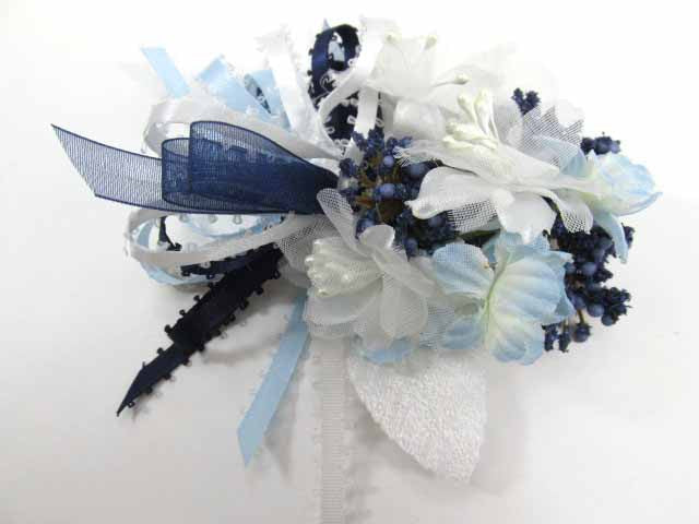 Baby Blue, Navy Blue and White Bridal Bouquet and Boutonniere Set ready to ship - Odyssey Creations