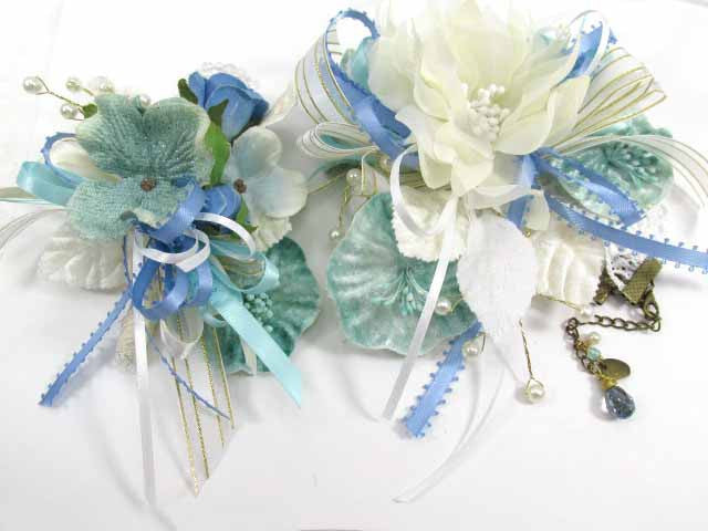 Aqua, Blue and Ivory Beach Colored Lace Bracelet Corsage and Boutonniere Prom Set - Odyssey Creations