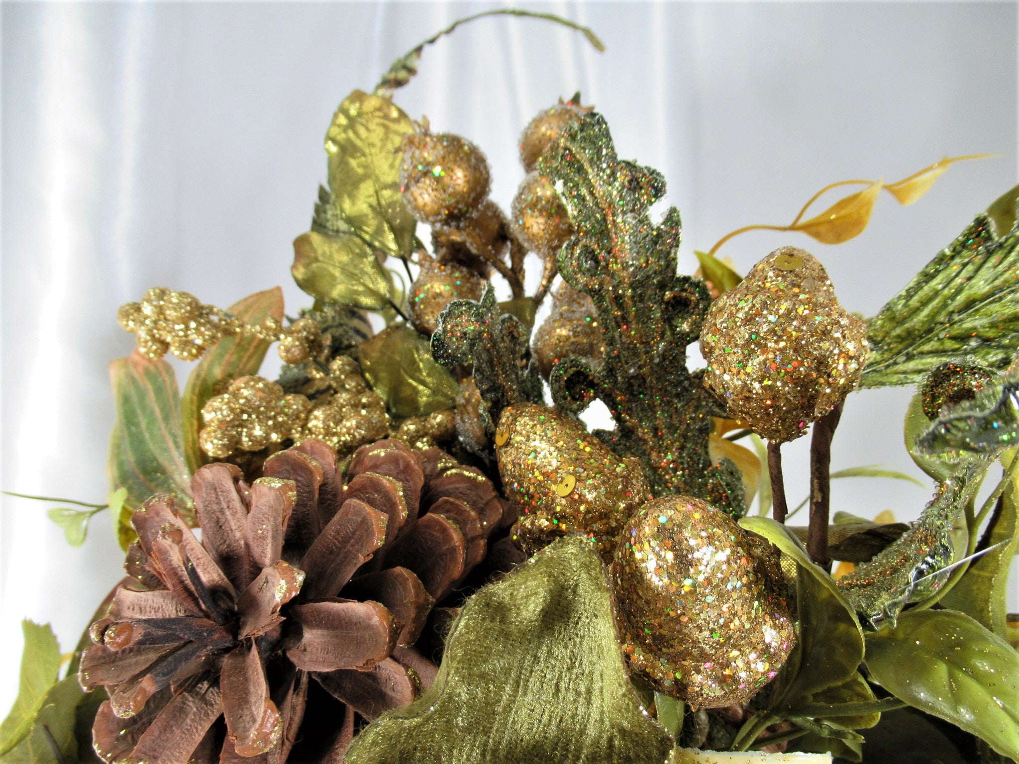 live Green and Gold High End Beaded GlitteredChristmas Holiday Floral Arrangement - Odyssey Creations