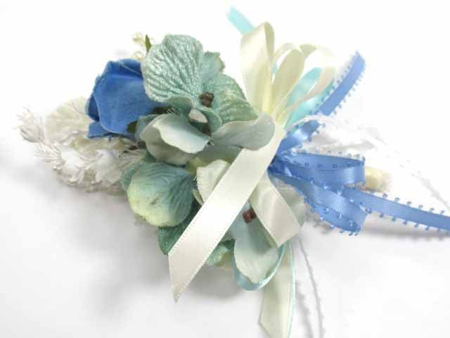 Aqua, Blue and Ivory Beaded Bridal Cascading Brooch Bouquet and Boutonniere Set - Odyssey Creations