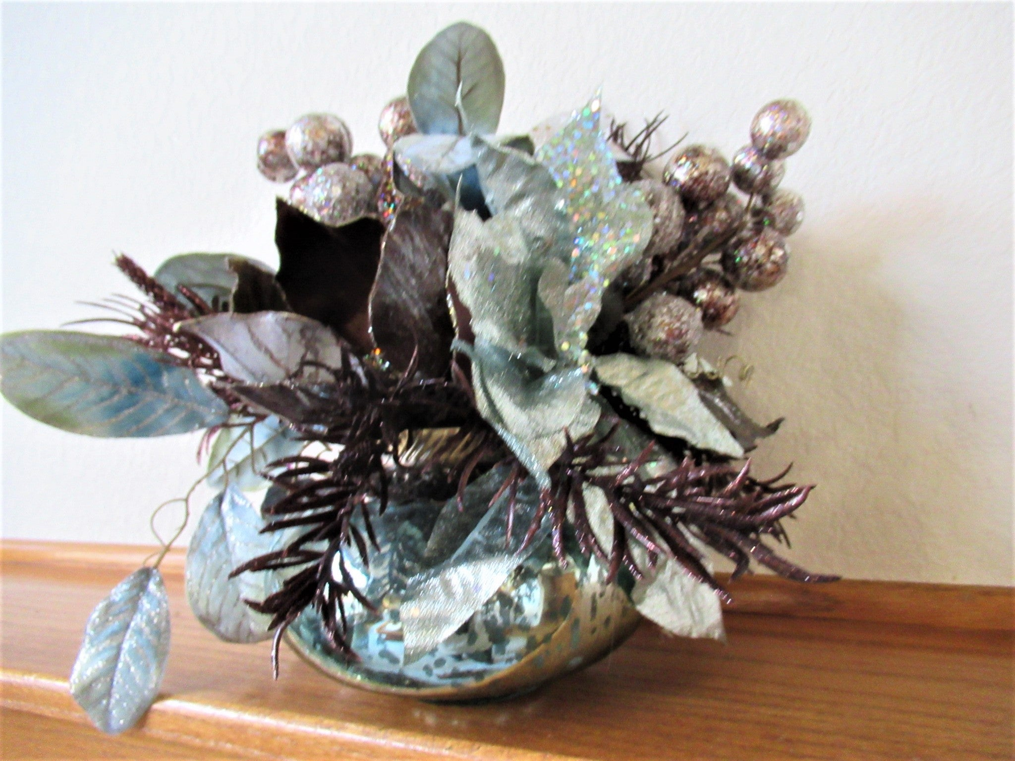 Aqua and Chocolate Brown Glittered Poinsettia, Berries and Velvet Leaf Christmas or Holiday Floral Centerpice - Odyssey Creations