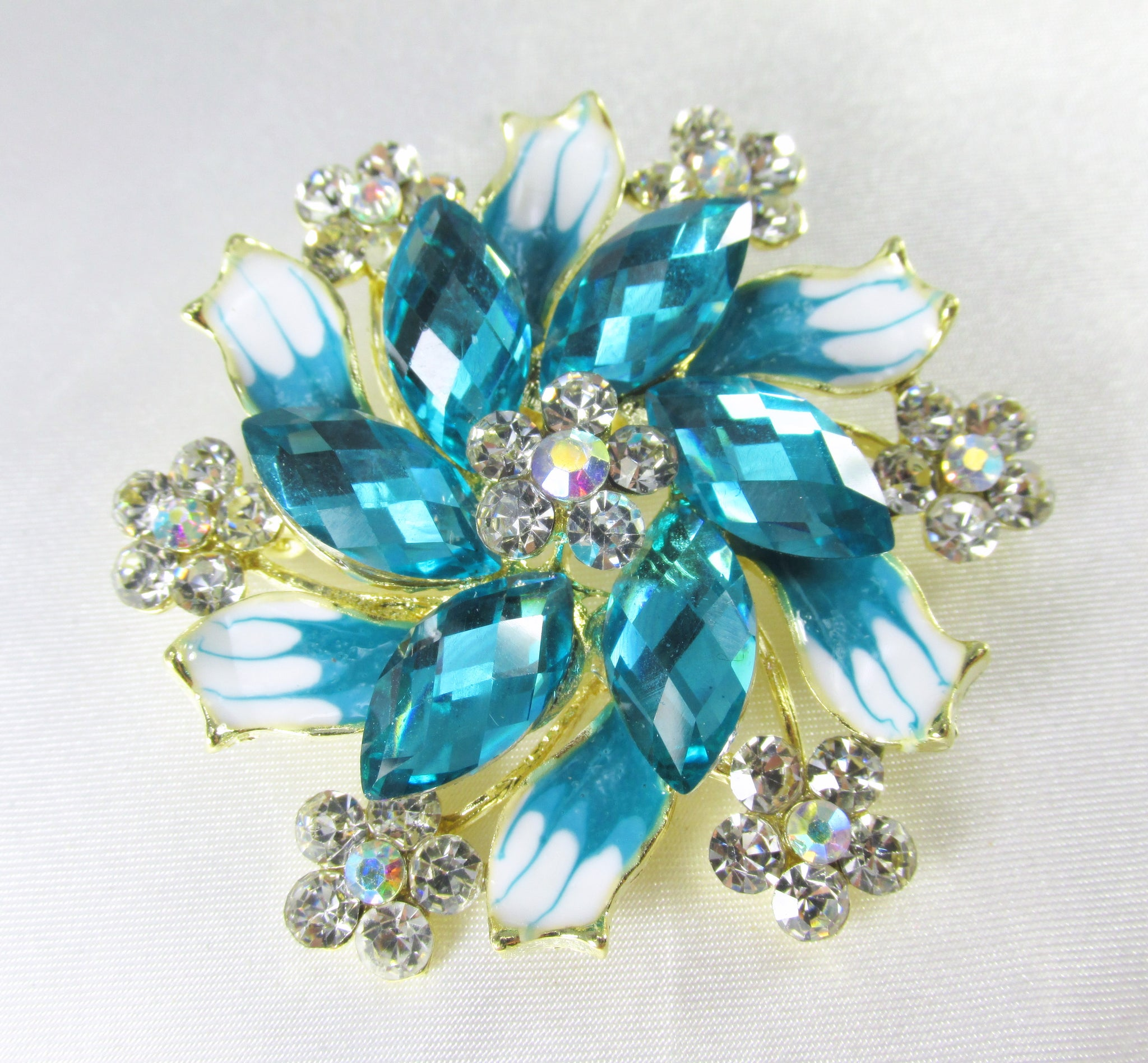 Pinwheel Acrylic and Crystal Flower Brooch in Red, Black, Pink, Gold, Turquoise or Purple Lavender - Odyssey Creations
