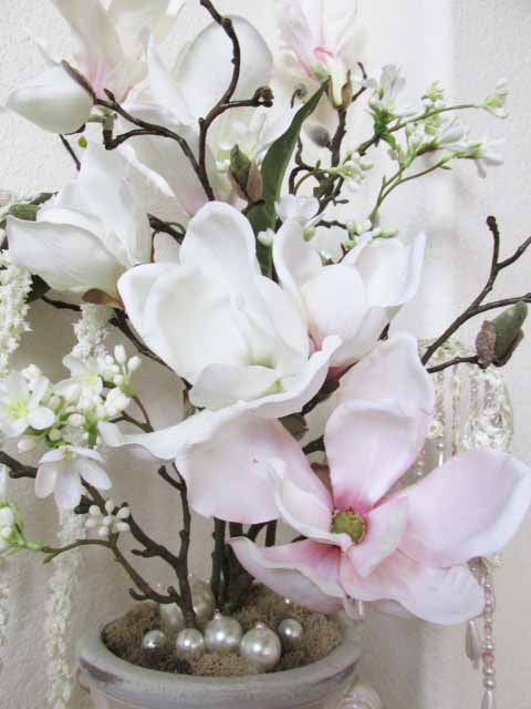 Ivory and Blush Victorian Silk Floral Arrangement with Pearl Accents - Odyssey Creations