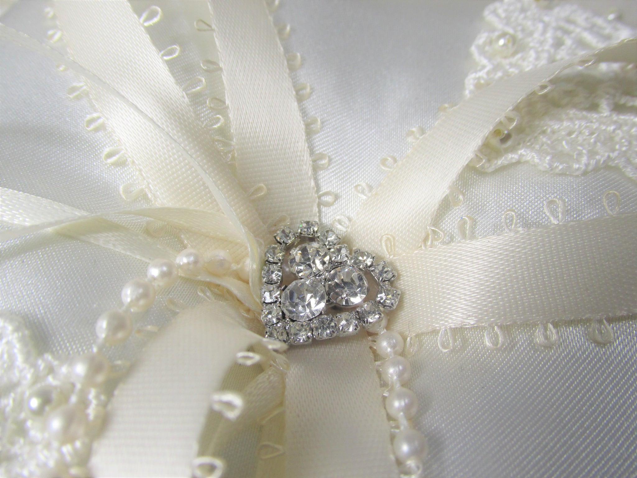 Small Ivory Satin Ring Bearer Pillow with Lace Hearts, Crystals and Pearls - Odyssey Creations