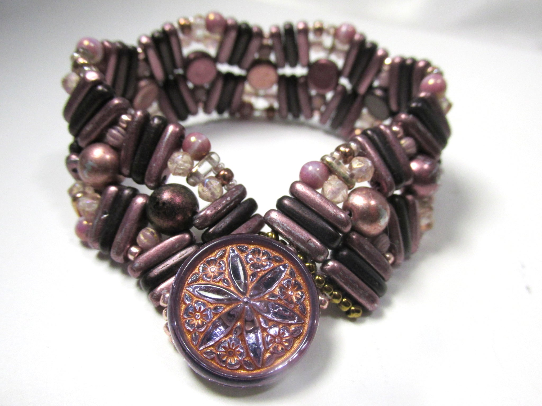 Plum, Eggplant and Rose Gold Tones Czech Glass Button Closure Pebble Lane Beaded Bracelet - Odyssey Creations