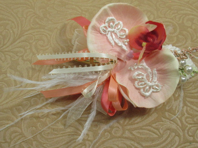 Coral, Peach and Ivory Pearl Beaded Orchid Wrist Corsage and Boutonniere Prom Set - Odyssey Creations