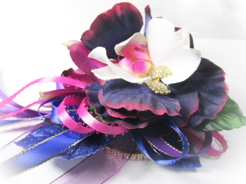 Violet, Purple, Blue and White Prom Set with Bracelet Wrist Corsage and Magnetic Boutonniere - Odyssey Creations