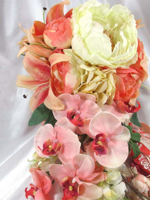 Peach Coral and Ivory Tiger Lillies, Peonies and Roses Lace Beaded Cascading Orchid Bridal Bouquet - Odyssey Creations