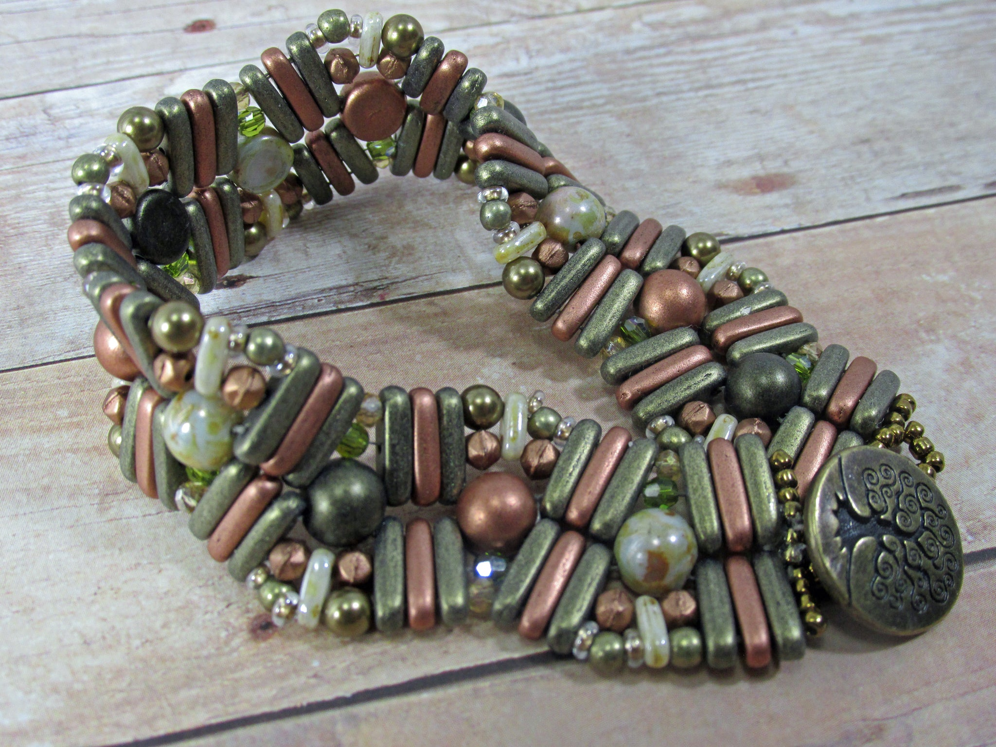 Kahki Green and Copper Earthtones Pebble Lane Beaded Bracelet with Tree of Life Toggle Clasp - Odyssey Creations