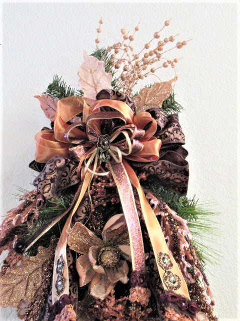 Peach Beige and Rustic Brown and Rose Gold Christmas Holiday Vertical Artificial Magnolia and Evergreen Victorian Beaded Door Swag - Odyssey Creations