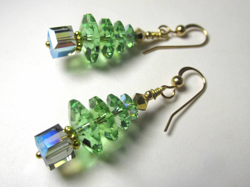 Swarovski Peridot Glacier Blue Christmas Tree Earrings on 14k Gold Fill Earring Wires - Odyssey Creations