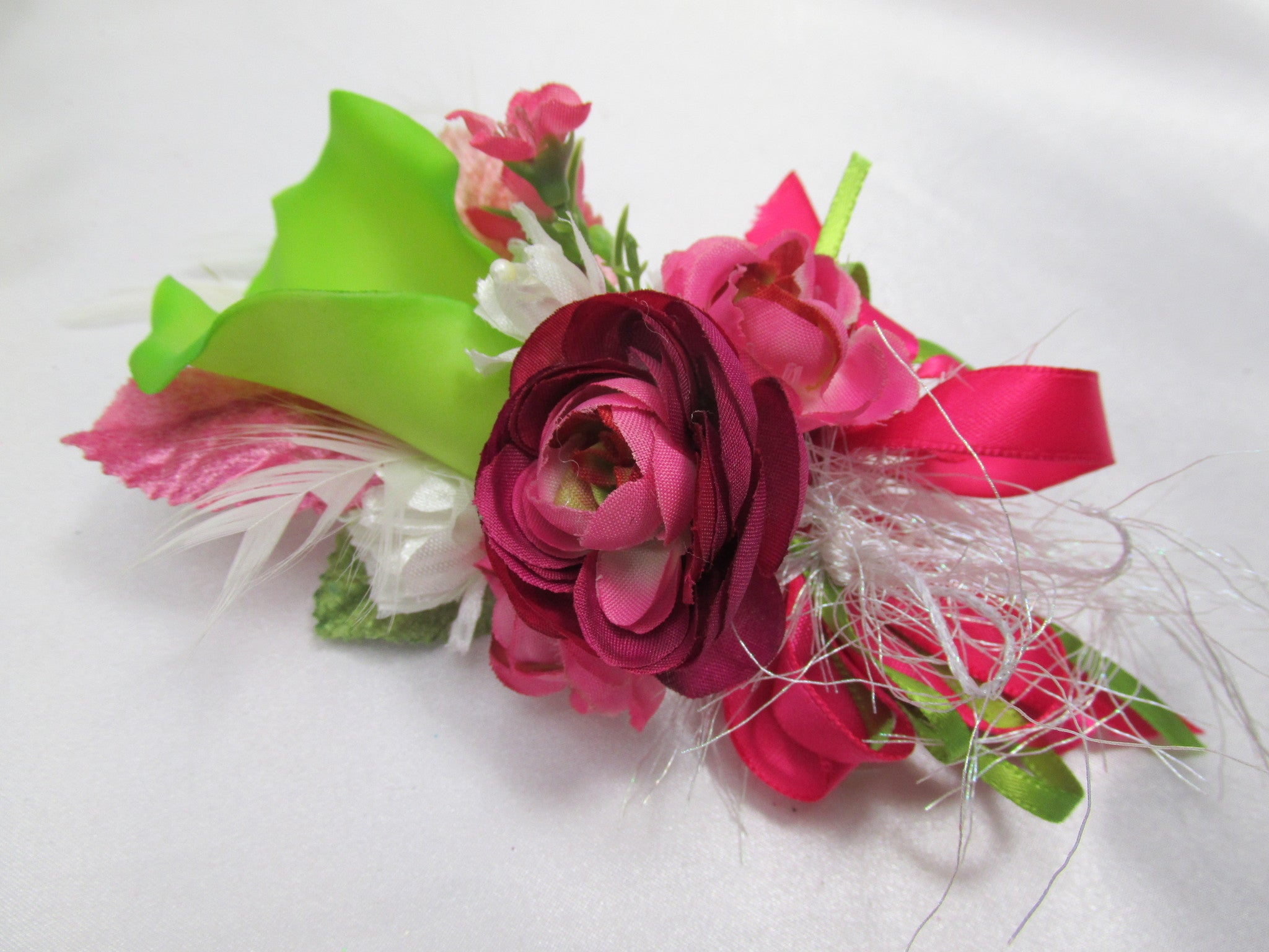 Fuchsia Pink and Lime Calla Lily Victorian Beaded Cascading Bridal Brooch Bouquet and Boutoneirre Set - Odyssey Creations