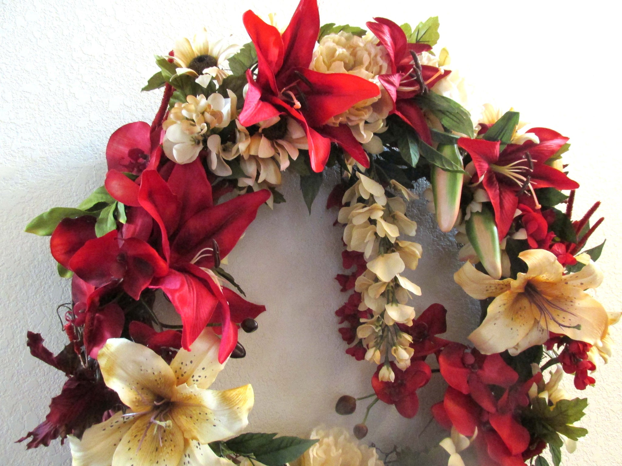 Large Victorian Wreath for Holiday or Every Day Home Decor in Dark Red and Gold Lilies with Orchids - Odyssey Creations