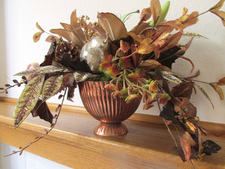 Copper Autumn or Holiday Faux Floral Centerpiece Arrangement with Succulents, Daylilies and Fruit - Odyssey Creations