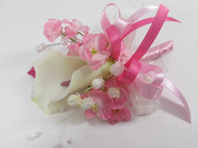 Pink and White, Calla Lily Beaded Bridal Bouquet and Boutonierre Set Ready to Ship - Odyssey Creations