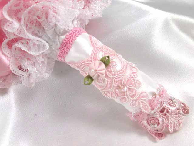 Pink and White Lace Small Bridesmaid or Toss Bouquet - Ready to Ship - Odyssey Creations