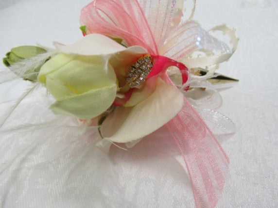 Orchid Cream and Pink Wrist Corsage and Boutonniere Prom Set or Wedding Accessories - Odyssey Creations